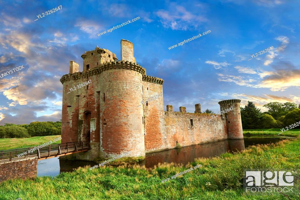 Stock Photo: Exterior of Caerlaverock Castle, Dumfries Galloway, Scotland, .