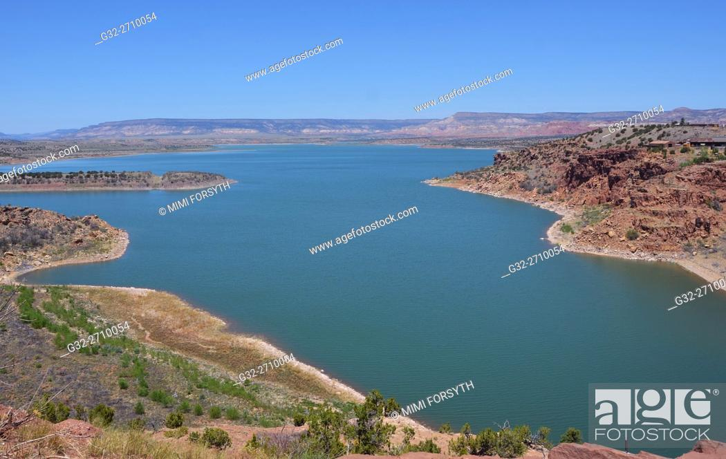 Stock Photo: Abiquiu lake. Water of Rio Chama impounded as a reservoir. Rio Arriba county, New Mexico, USA.