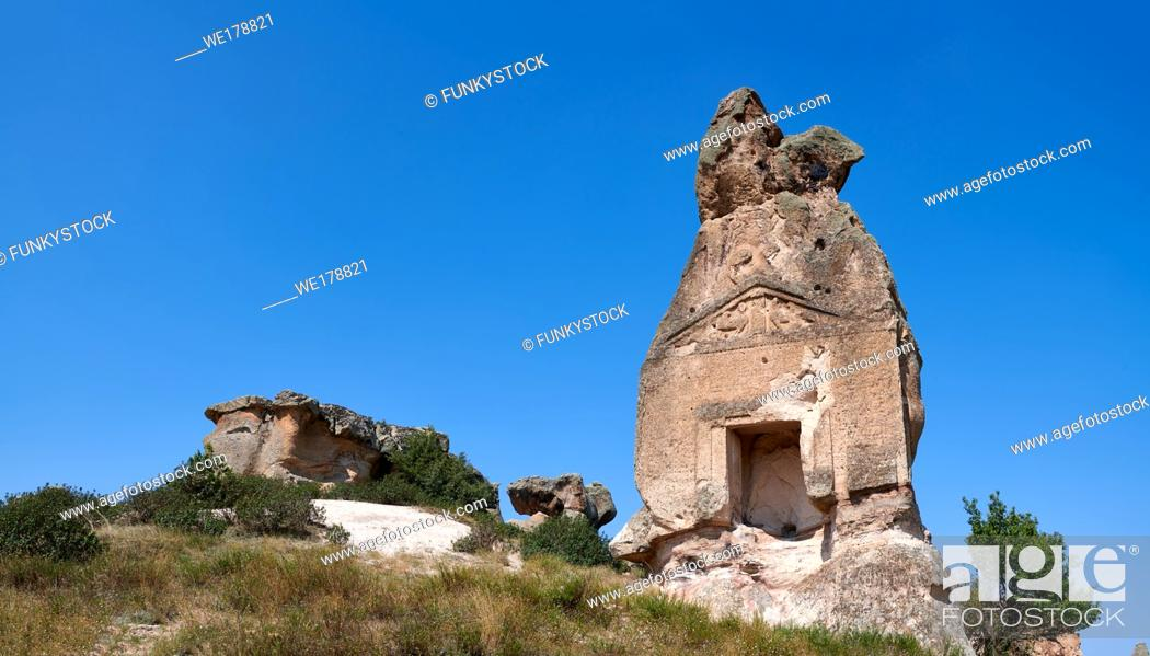 Stock Photo: Phrygian temple of Aslankaya, 7th century BC. Phyrigian Valley, Emre Lake, near Doger, Turkey.