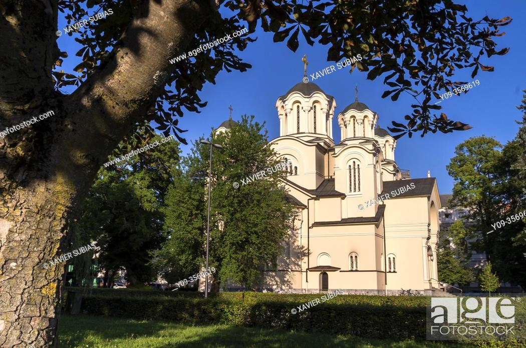Stock Photo: Sts. Cyril and Methodius Church, Ljubljana, Slovenia.