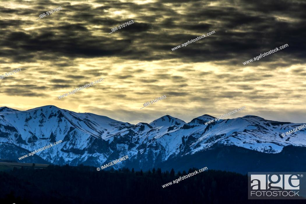 Stock Photo: View on Sancy Massif in winter, Regional Natural Park of the Auvergne volcanoes, Puy de Dome department, Auvergne-Rhone-Alpes, France, Europe.