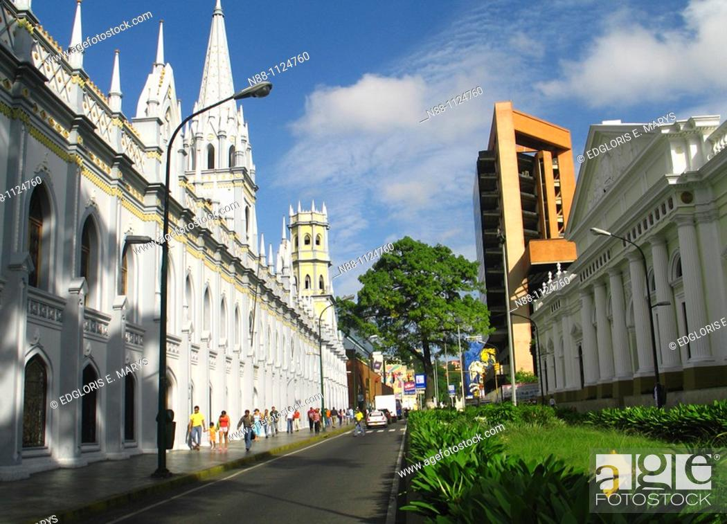 Stock Photo: Panoramic of the Historic Centre, Caracas, Venezuela with a view of the Academic Palace and Capitol building.