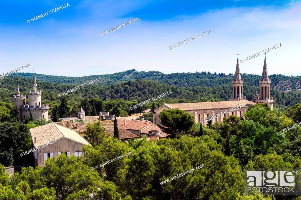 Stock Photo: Europe. France. Bouche-du-Rhone. Alpilles. Tarascon. Abbey of Saint Michel de Frigolet, XII century.