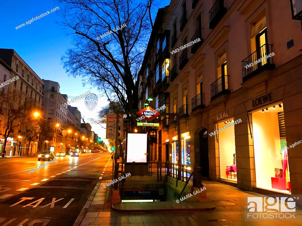 Stock Photo: Metro Serrano entrance, night view. Goya street, Madrid, Spain.