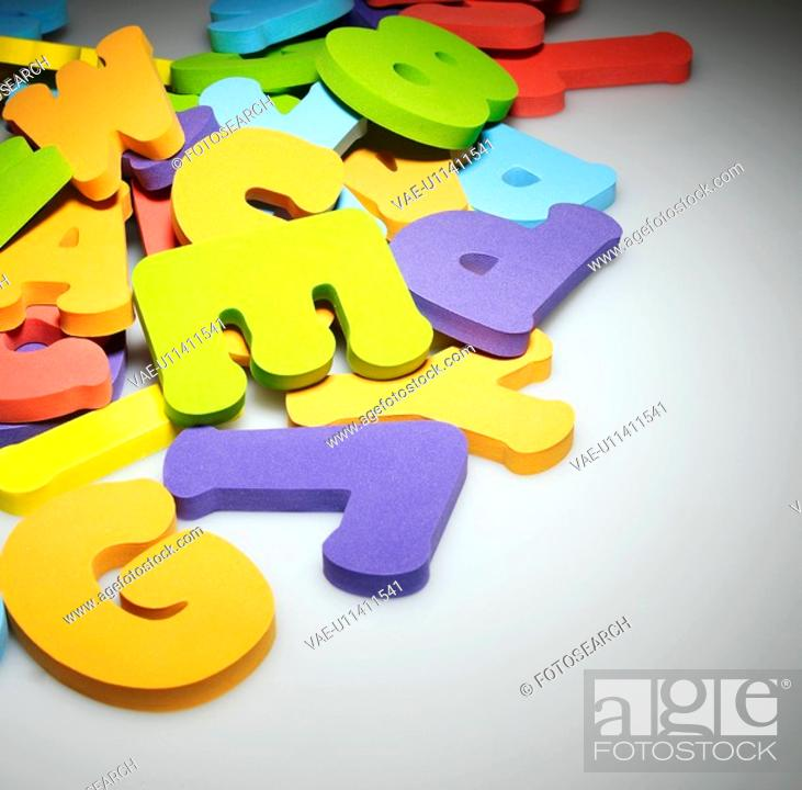Stock Photo: Stack of Rubber Alphabetical Letters.