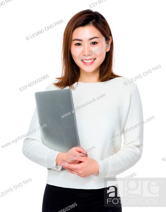 Stock Photo: Young Woman hold with laptop computer.