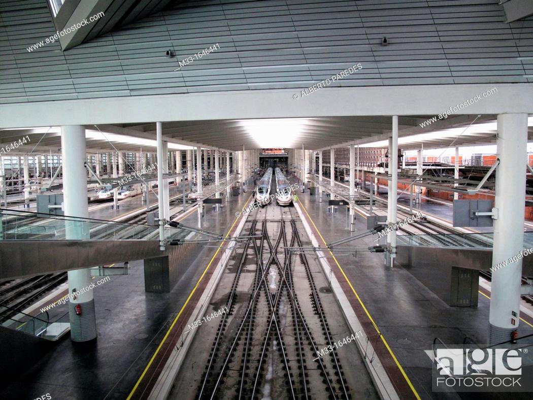 Stock Photo: Spanish high speed train AVE. Atocha Station. Madrid. Spain.