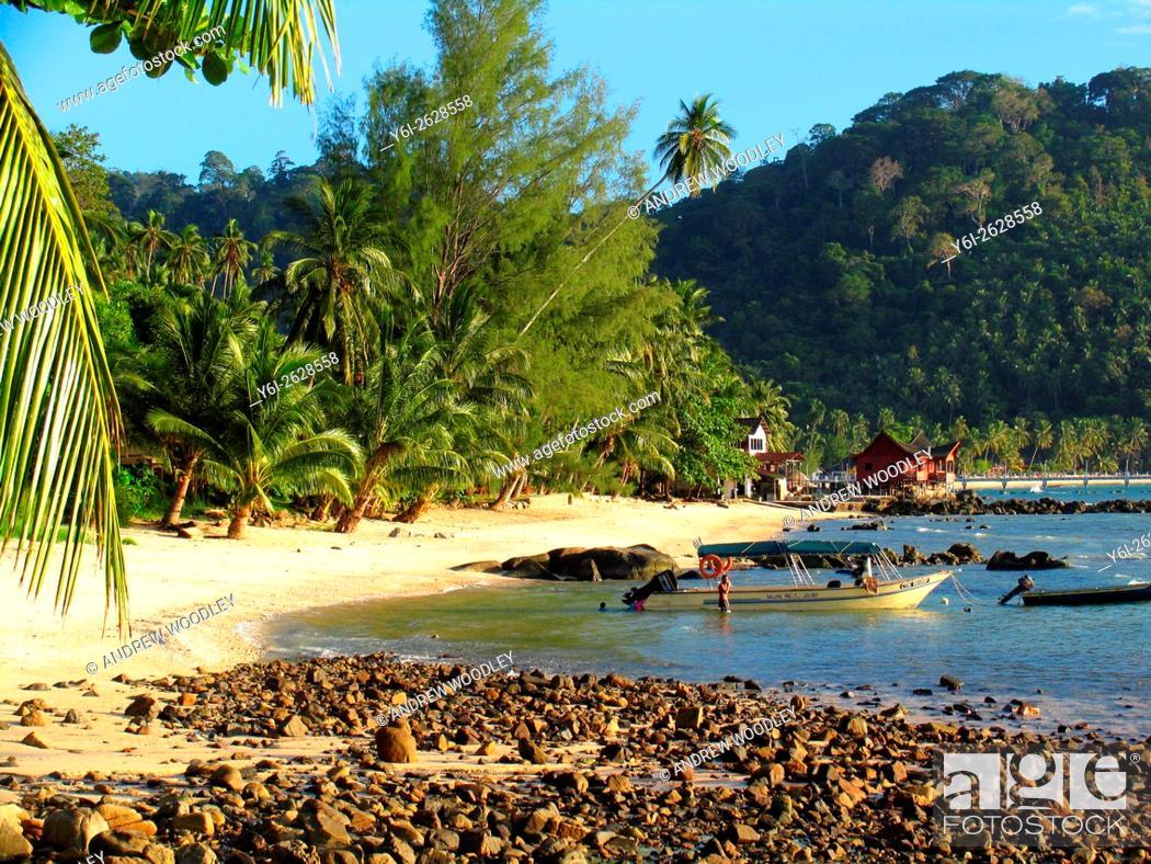 Stock Photo: Late afternoon sun on part of Salang Beach Tioman Island Malaysia.