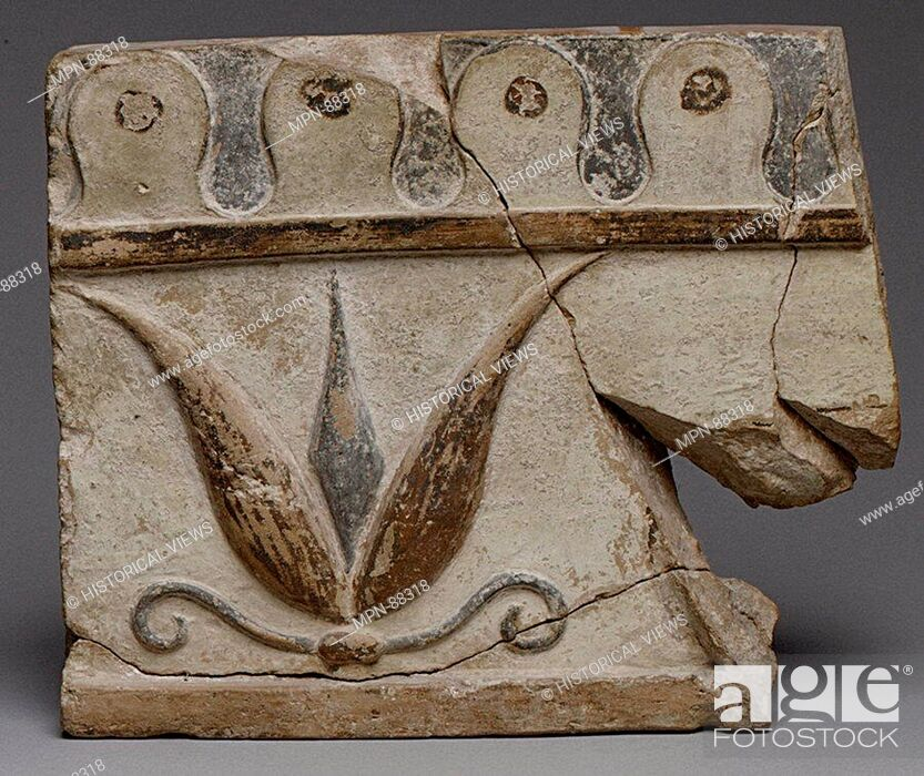 Imagen: Terracotta architectural tile. Period: Archaic; Date: 6th century B.C; Culture: Lydian; Medium: Terracotta; Dimensions: H.: 8 1/16 in. (20.