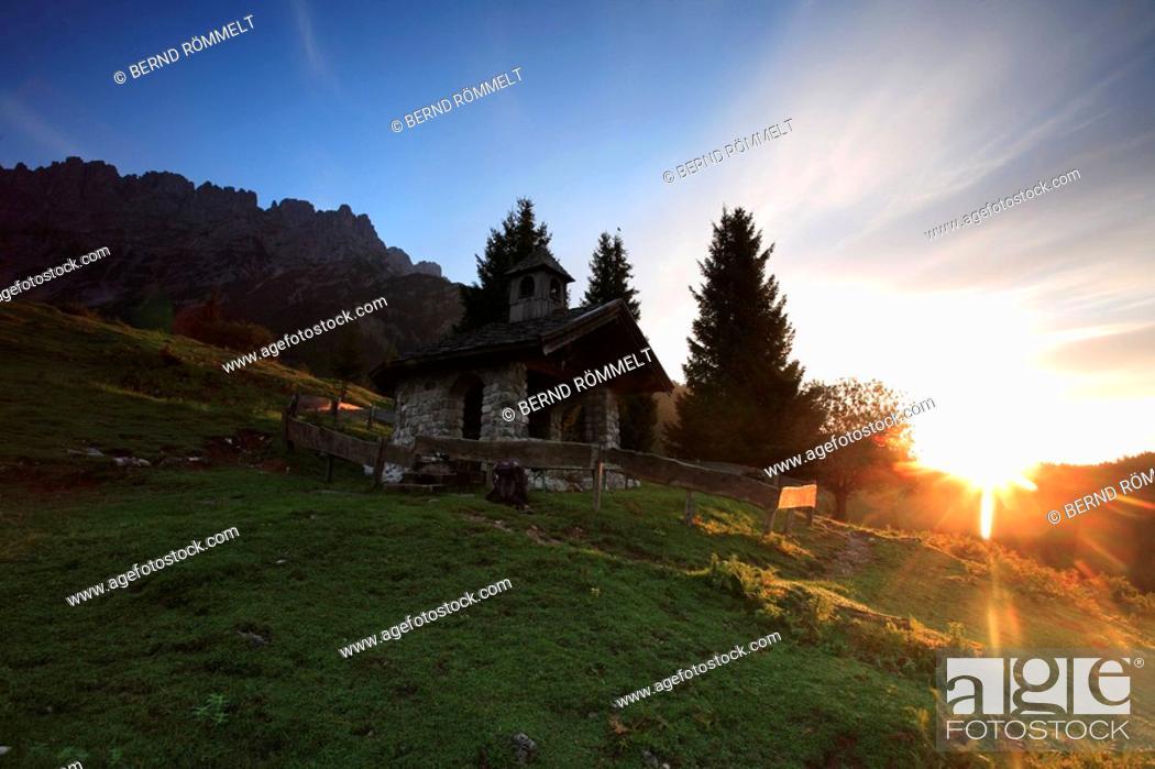 Austria Tyrol Wilder Kaiser Mountain Meadow Chapel Back Light