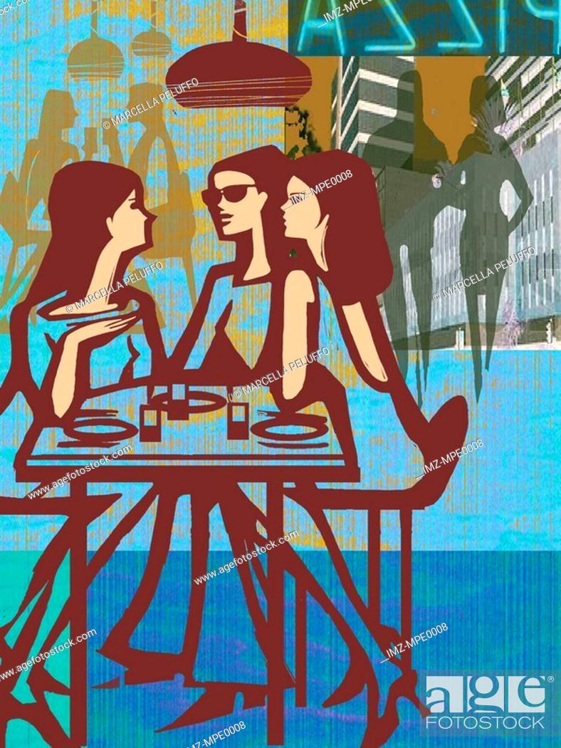 Stock Photo: Three women having lunch in a restaurant.