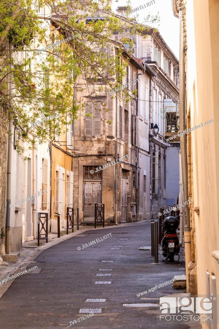 Stock Photo: A side street in the romanesque part of Avignon, France.