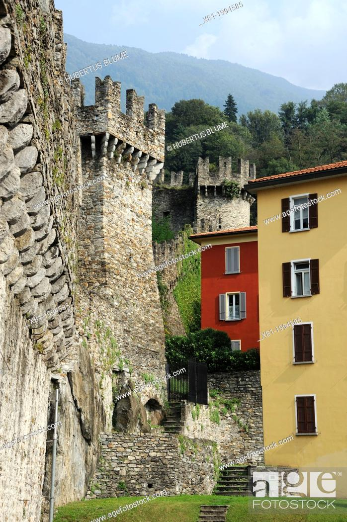 Stock Photo: The Murata or city wall - Bellinzona is the administrative capital of the canton Ticino in Switzerland. The city is famous for its three castles (Castelgrande.
