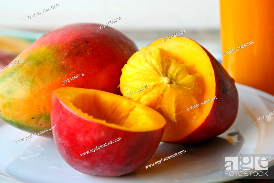 Stock Photo: Red Mangoes fruit.