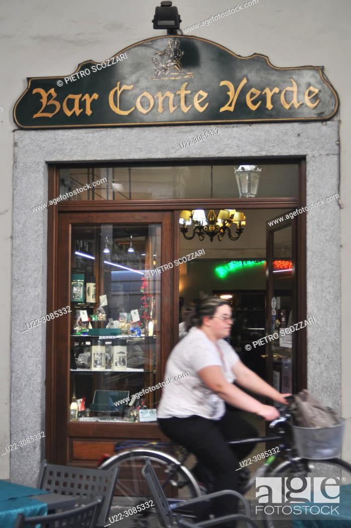 Stock Photo: Turin, Italy: Bar Conte Verde.