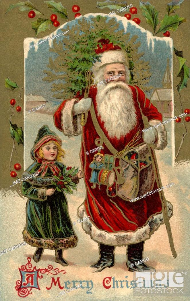 Stock Photo: Vintage Christmas postcard of Santa Claus walking with a little girl as he carries a Christmas tree over his shoulder.