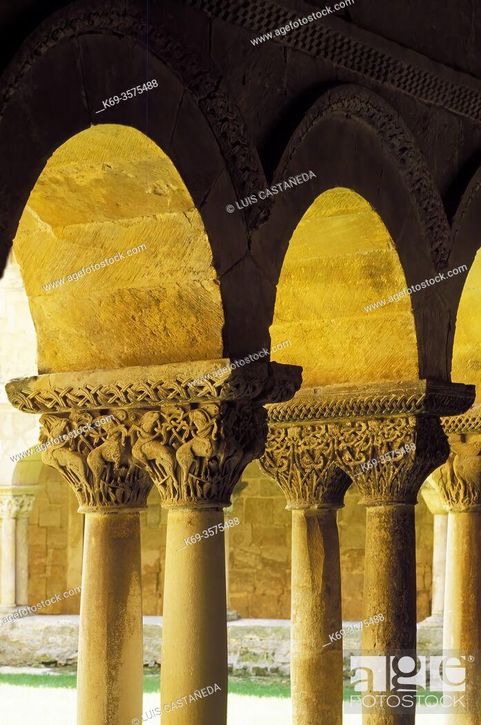 Stock Photo: Romanesque Capitals. . Cloister of Sto. Domingo de Silos. . Silos (Burgos). Spain.