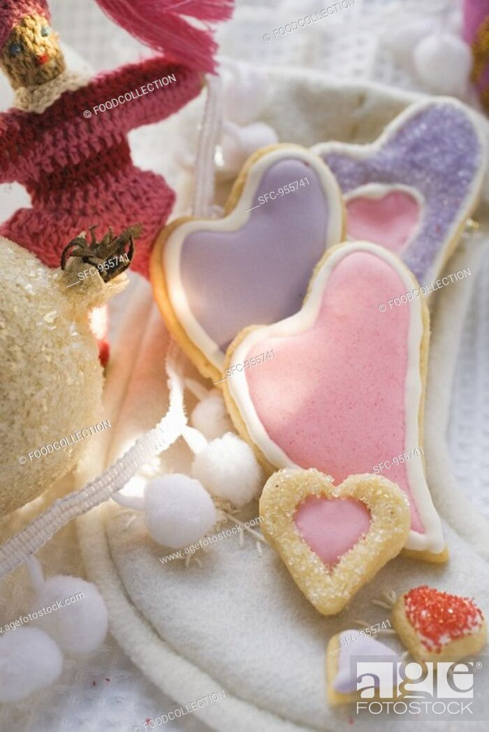 Stock Photo: Assorted heart-shaped Christmas biscuits.