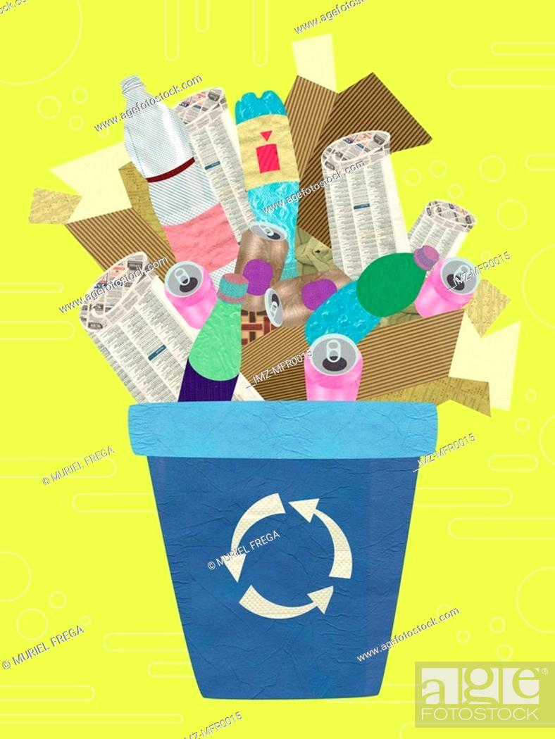 Stock Photo: Recycling blue box full of recycleables.
