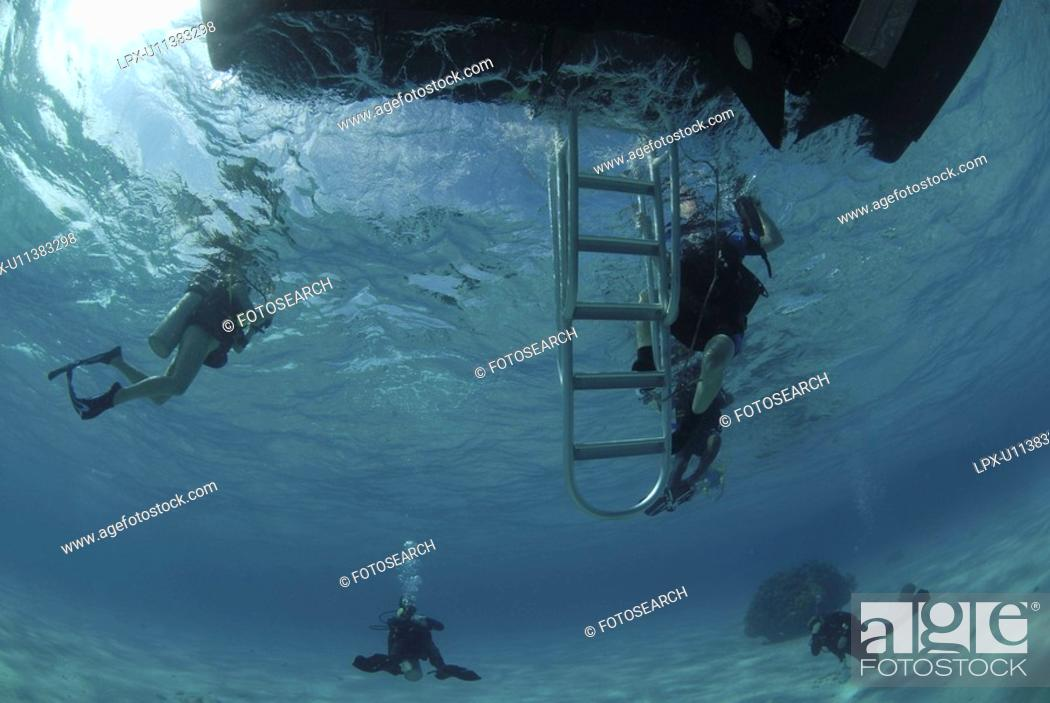 Stock Photo: Divers under boat's ladder, Grand Cayman Island, Cayman Islands, Caribbean.