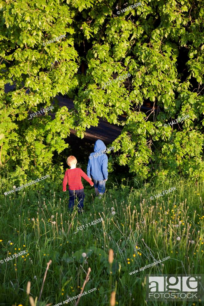 Stock Photo: Two boys walking into a forest.
