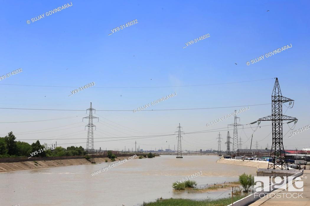 Stock Photo: A wide view of river Anhor at Tashkent in Uzbekistan.