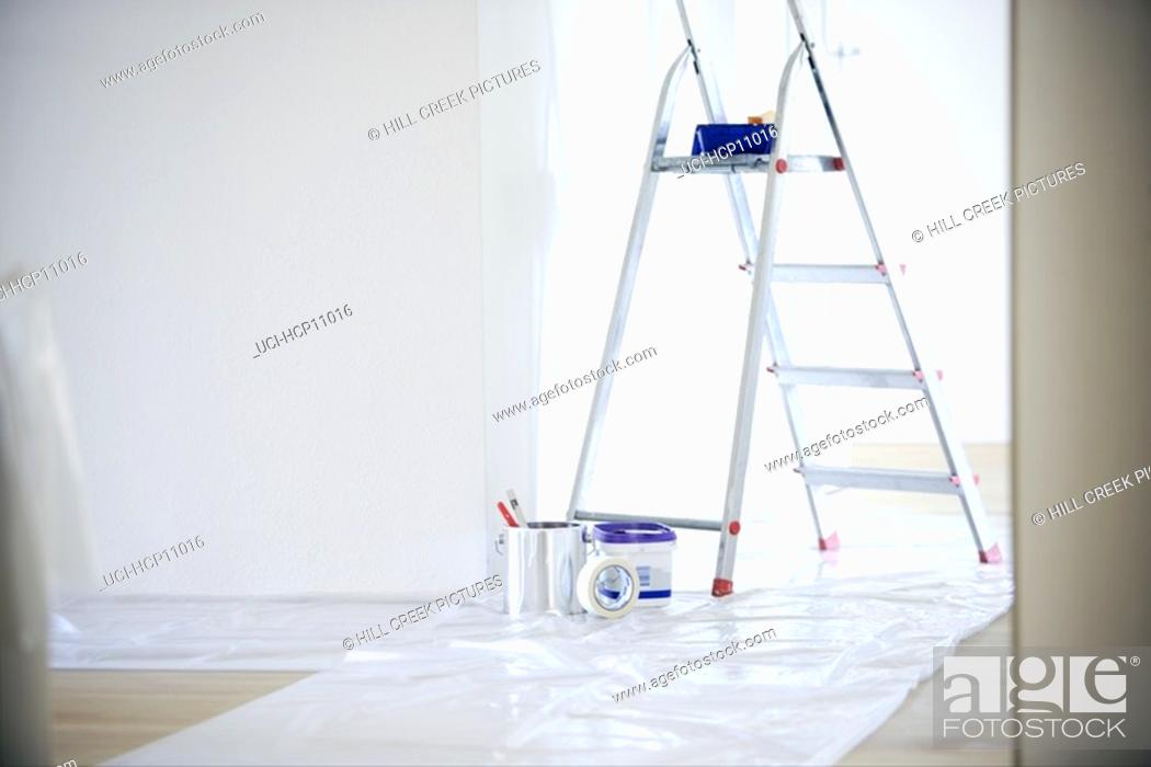Stock Photo: Ladder and paints.