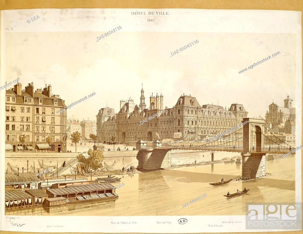 Stock Photo: France - Paris - 19th century. The city council and the riverside, engraving (1842)  Paris, Bibliothèque Des Arts Decoratifs (Library).