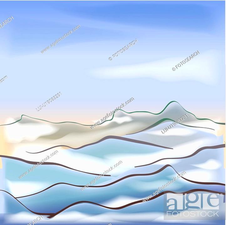 Stock Photo: cloud, season, sky, snow, winter, scenery, background.