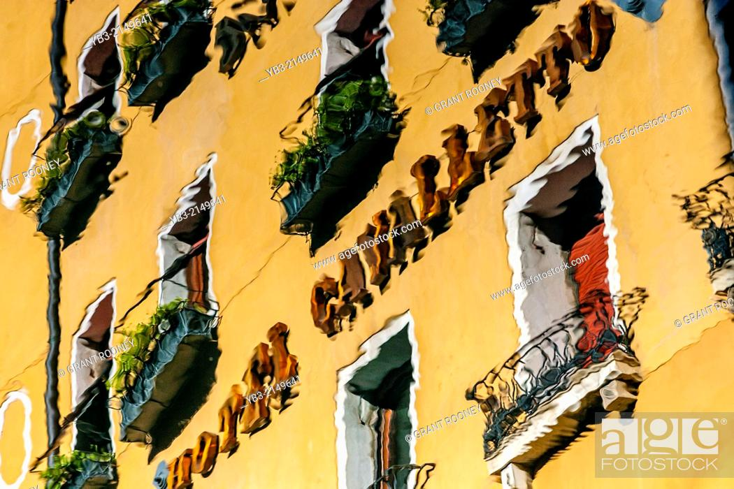 Stock Photo: The Hotel Cavalletto Exterior Reflected In The Bacino Orseolo, Venice, Italy.