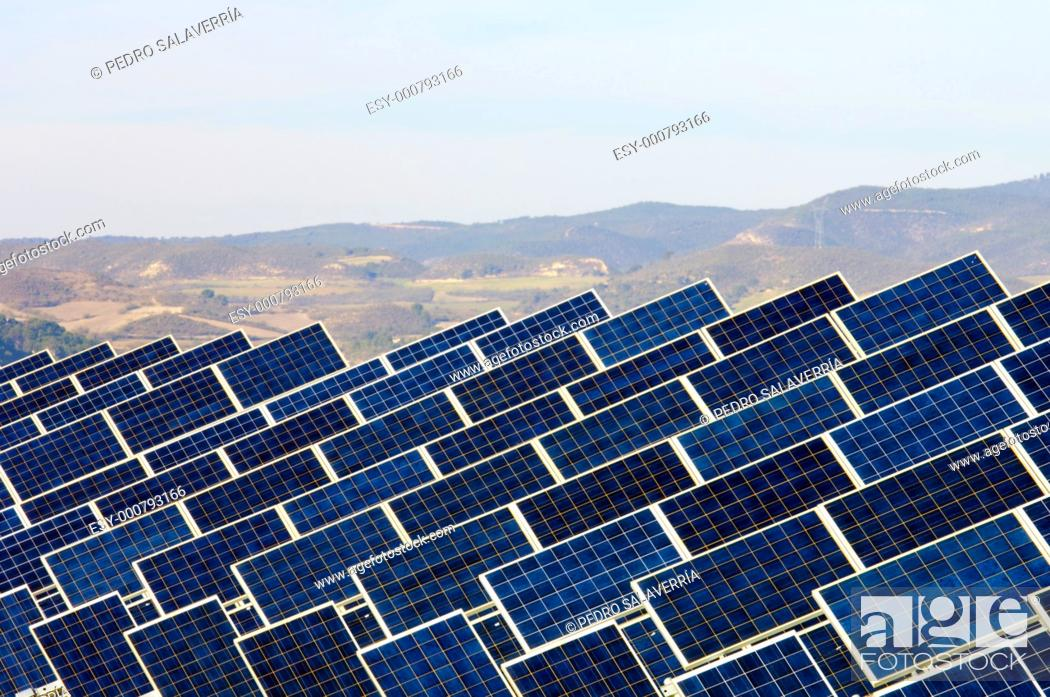 Stock Photo: huge solar field with blue sky in Zuera, Saragossa, Aragon, Spain.