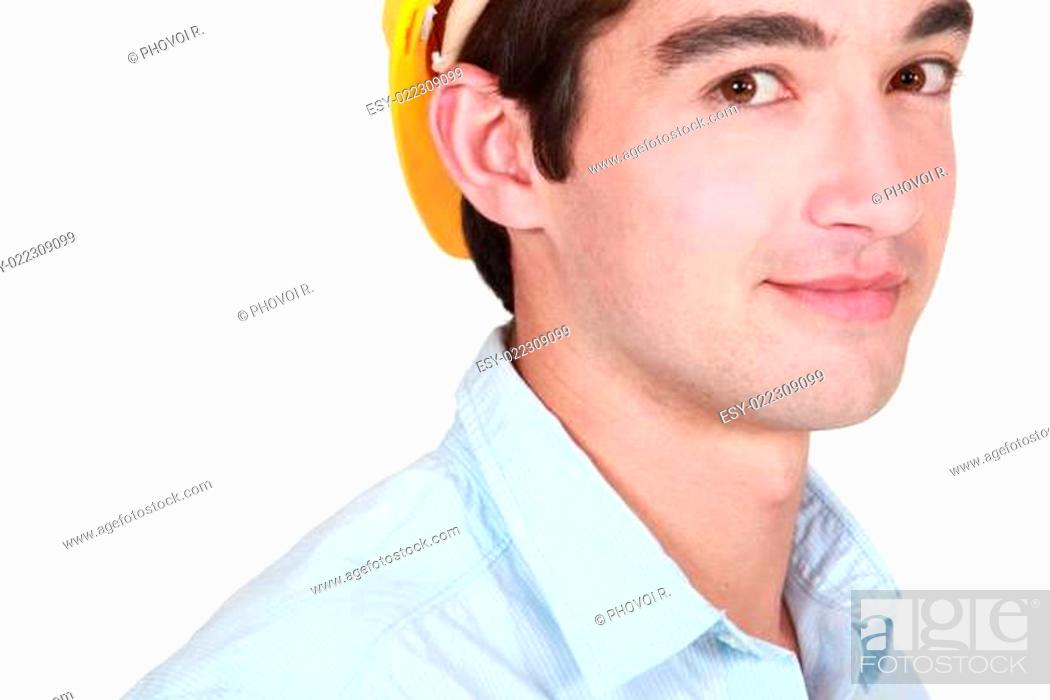 Stock Photo: Young male builder.