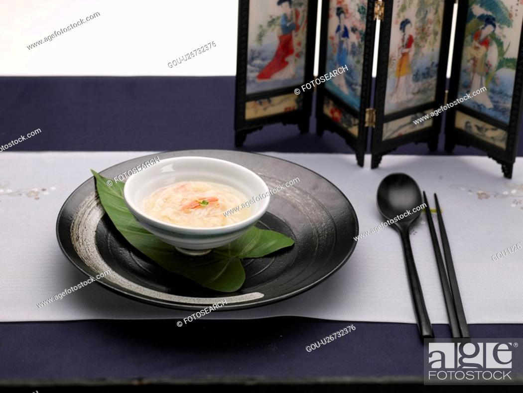 Stock Photo: tableclothe, spoon, decoration, food styling, chopsticks, crab soup.