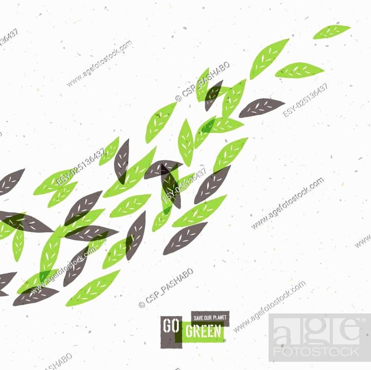 Stock Vector: Go Green Concept Poster With Leaves. Vector.