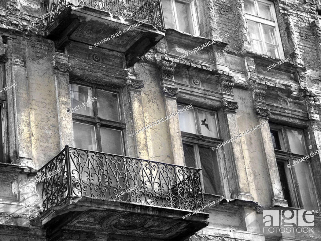 Stock Photo: Facade of an old apartment building.