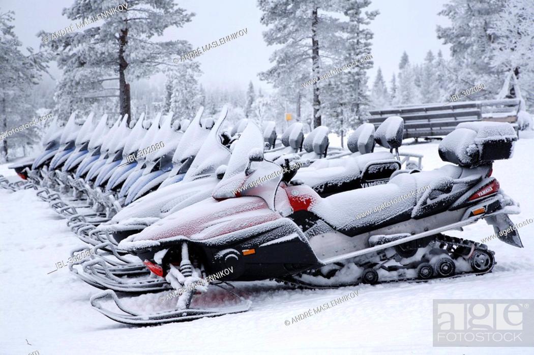 Stock Photo: Snowmobiles.