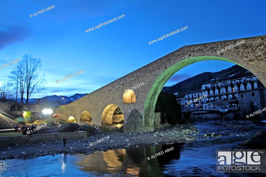 Stock Photo: Pont Nou at sunset, s.XII, river Ter, Camprodon, Ripolles, Catalonia, Spain.