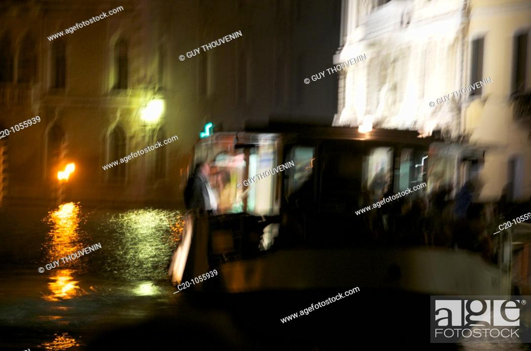 Stock Photo: Grand Canal, Vaporetto, Water, at night, Blurred Motion, Venice , Italy.