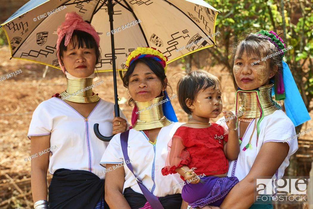 Stock Photo: Kayan Lahwi women at the Kay Htein Bo village celebration. The Long Neck Kayan (also called Padaung in Burmese) are a sub-group of the Karen ethnic from Burma.