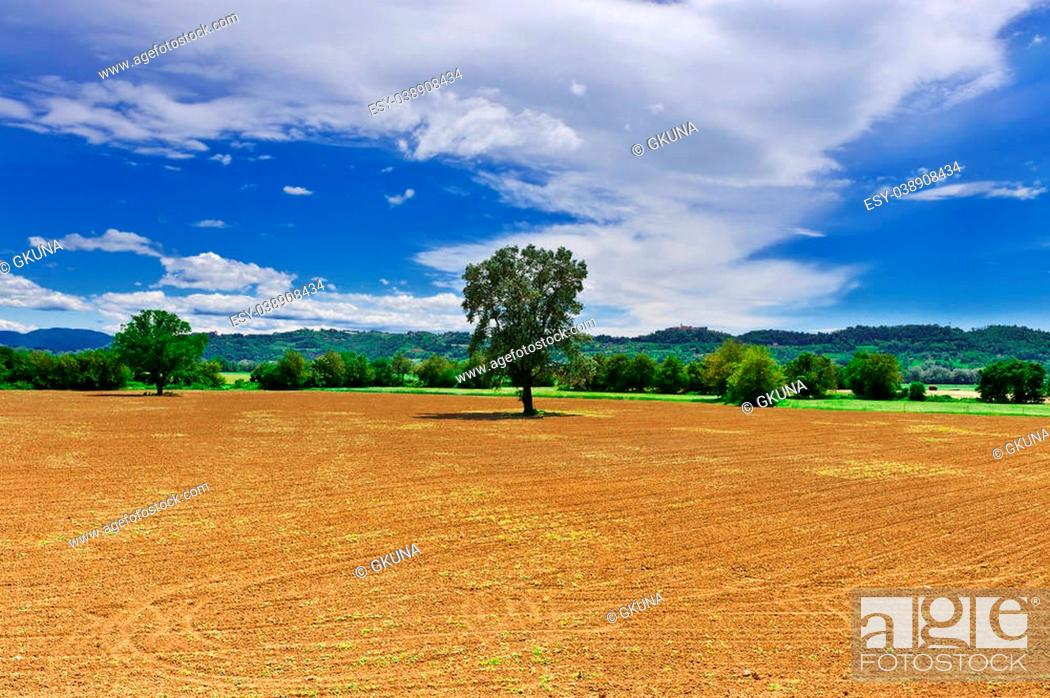 Stock Photo: The Medieval Italian Town Surrounded by Forests and Plowed Fields.