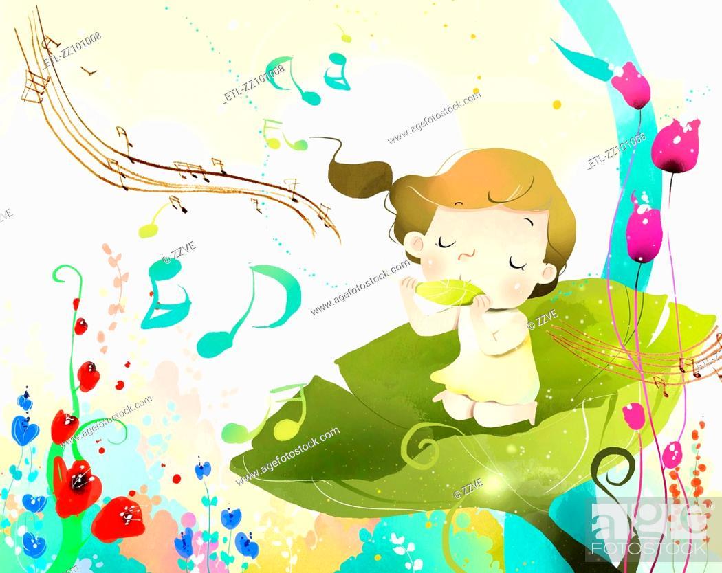 Stock Photo: Girl enjoying Music.