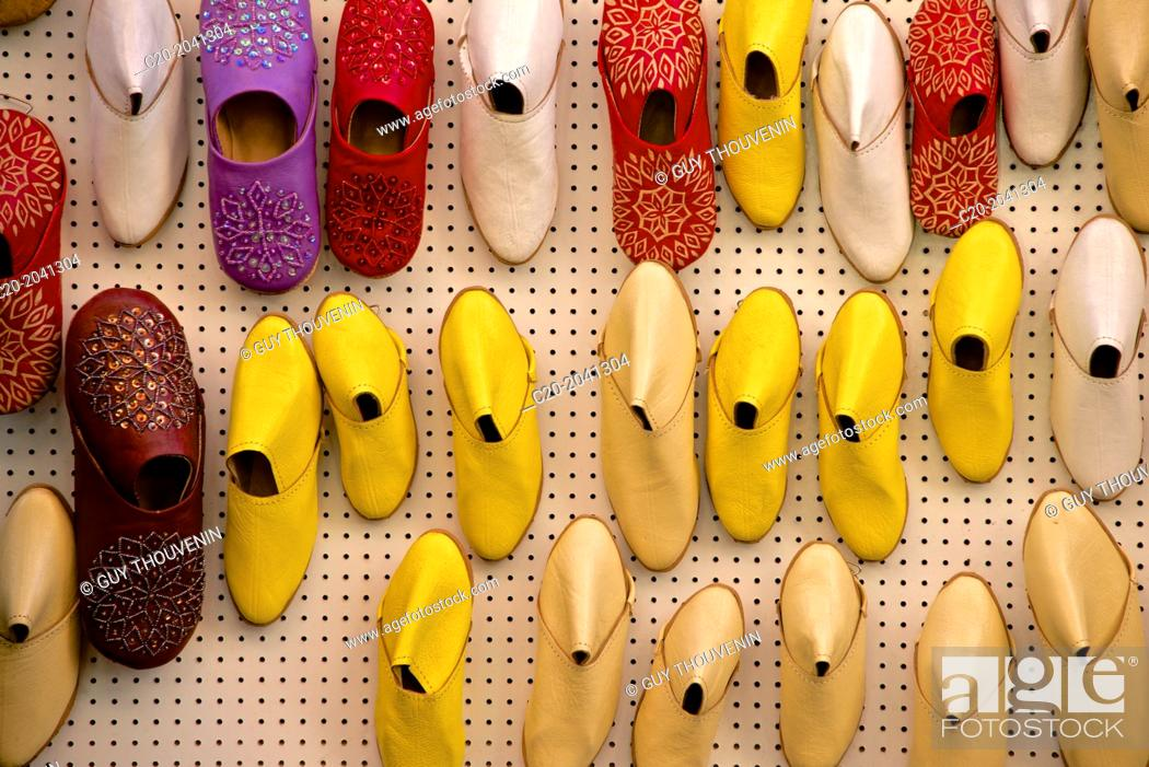 Stock Photo: Oriental slippers, Babouches , for sale, Medina, Marrakech, Morocco, North Africa.