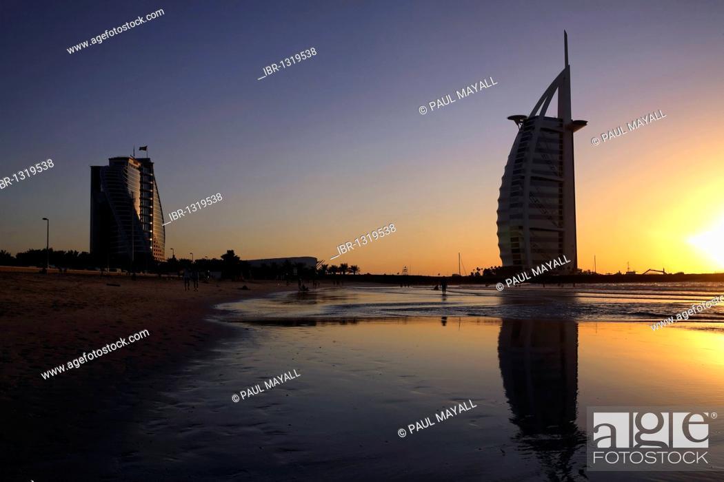 Burj Al Arab and Dubai hotels, beach, sunset, Dubai, United