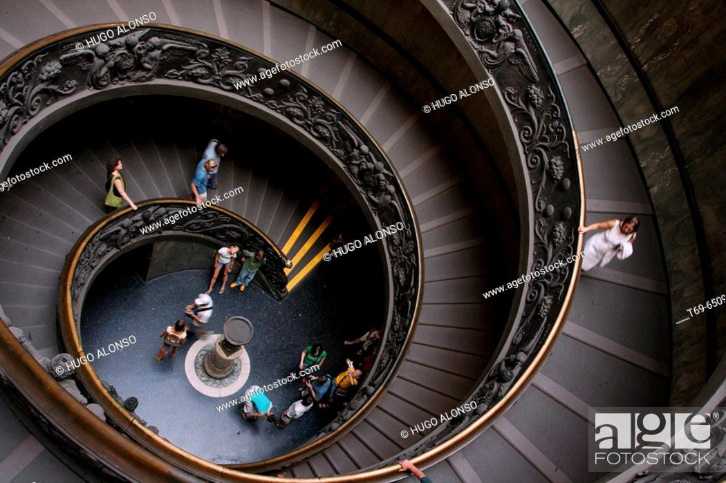 Stock Photo: Stairs. Vatican Museums. Vatican City. Rome. Italy.