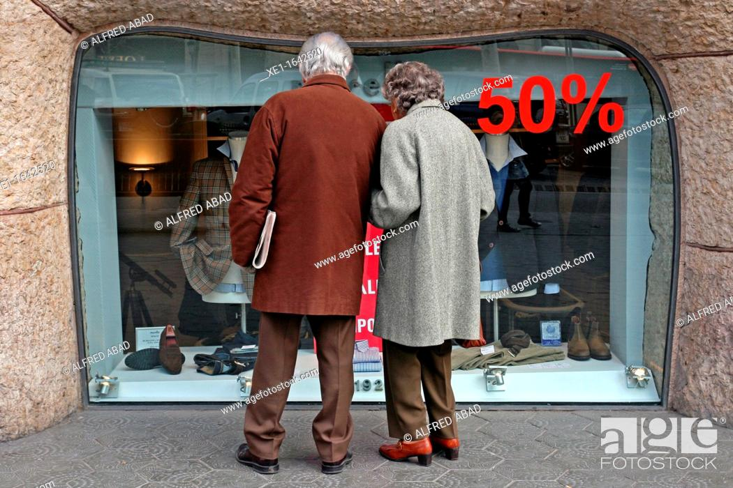 Stock Photo: sales, boutique, Passeig de Gracia, Barcelona, Catalonia, Spain.
