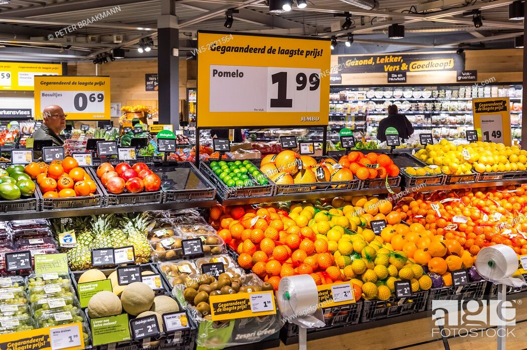 Stock Photo: OUD GASTEL THE NETHERLAND DECEMBER 7: The vegetable section in a Jumbo supermarket on December 7, 2016 in Oud Gastel.