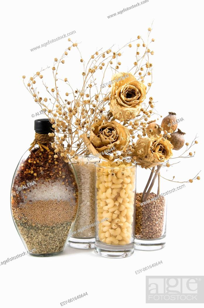 Stock Photo: beautiful kitchen still life and dry flowers.