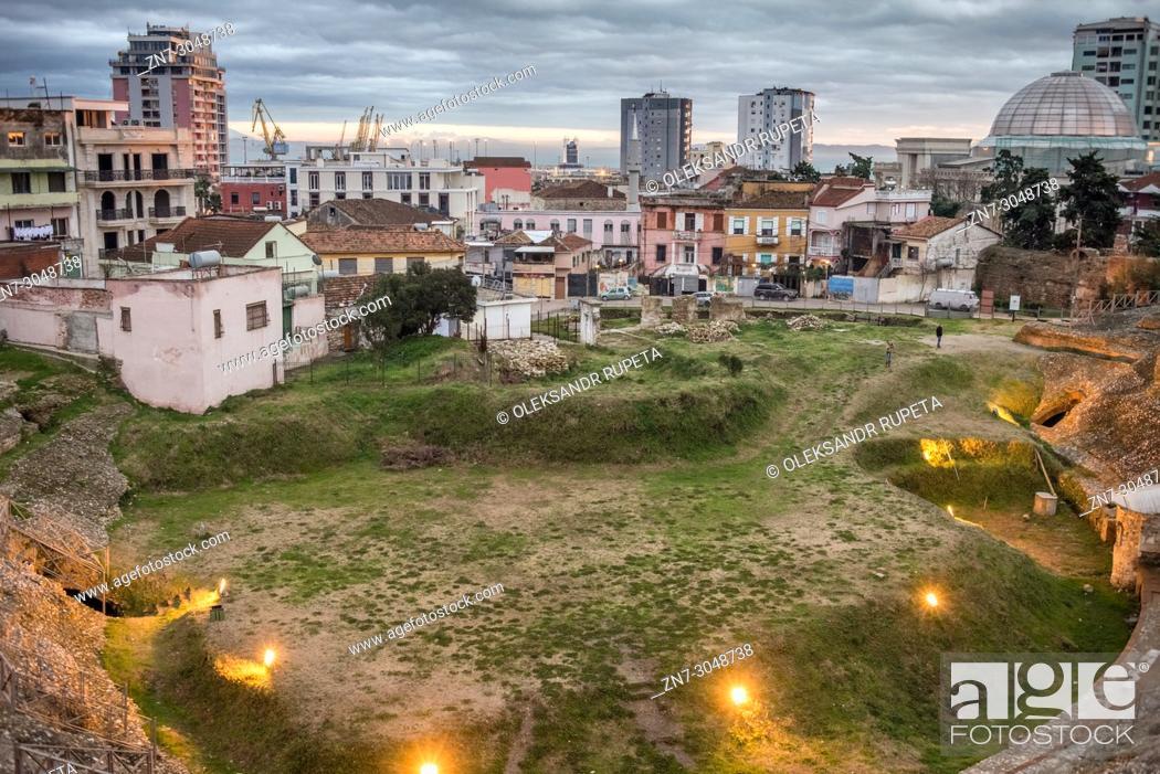 Stock Photo: Ruins of the Roman Amphitheatre, Durres, Albania.