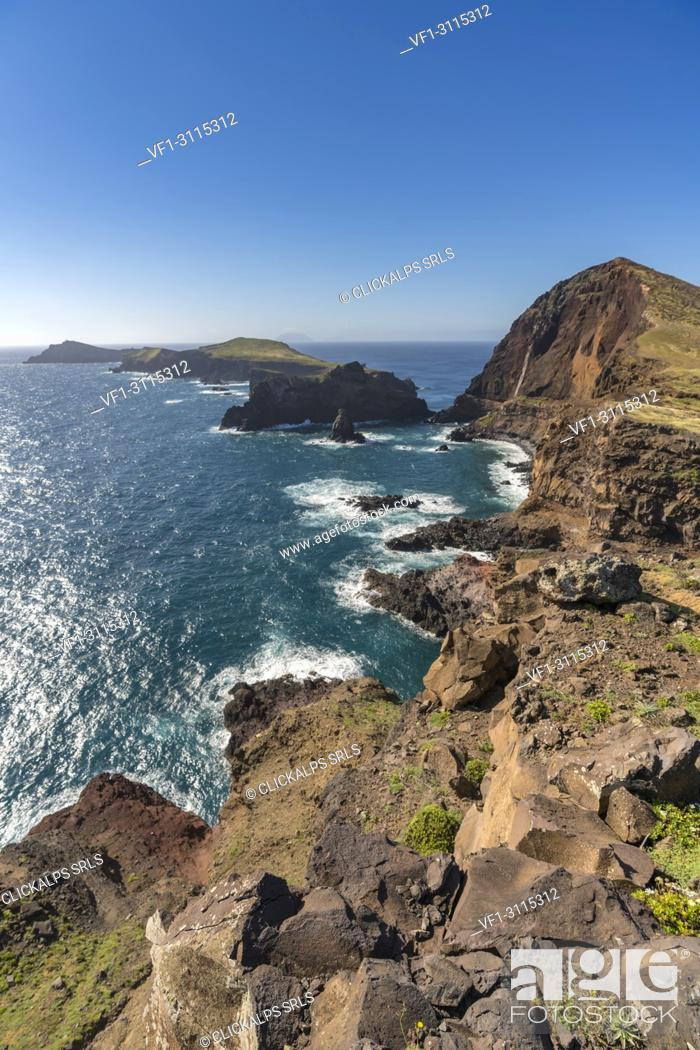 Stock Photo: Cevada and Farol islets from Point of St Lawrence. Canical, Machico district, Madeira region, Portugal.