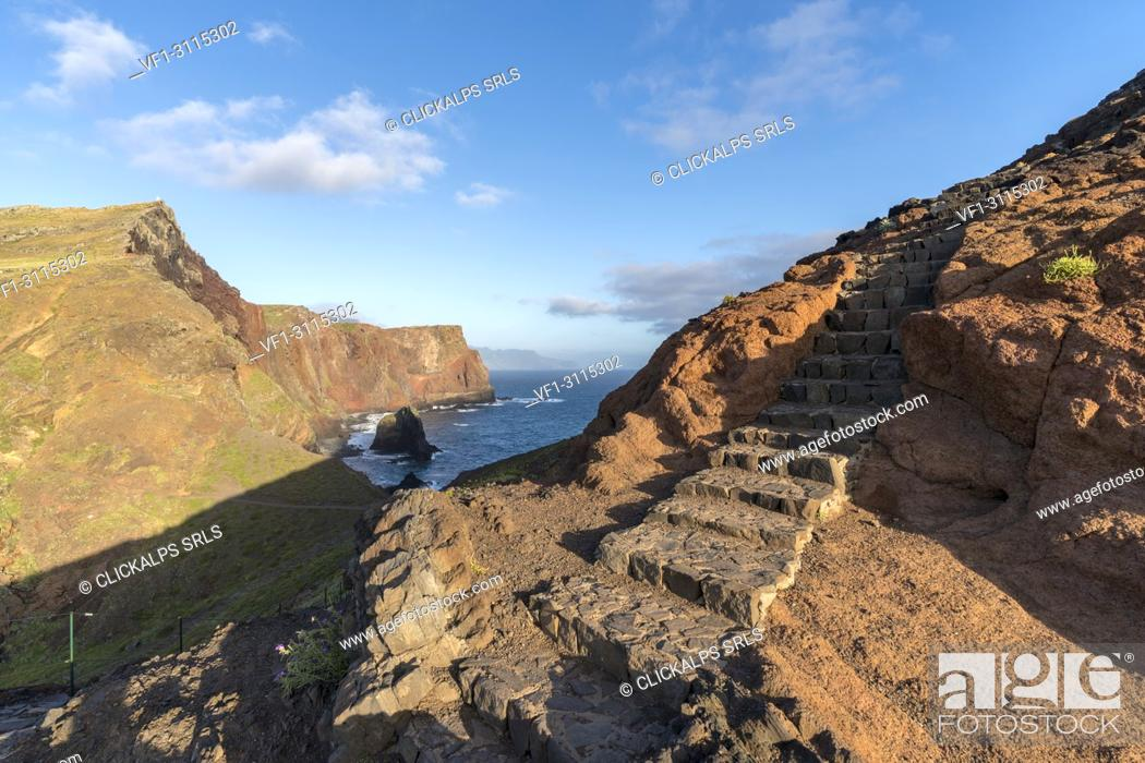 Stock Photo: Steps on the trail to Point of Saint Lawrence. Canical, Machico district, Madeira region, Portugal.